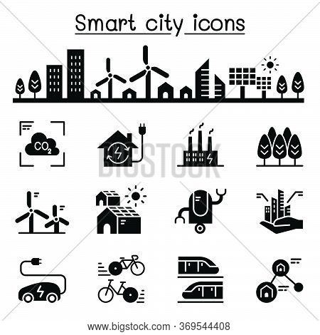 Smart City, Sustainable Town, Eco Friendly City Icon Set