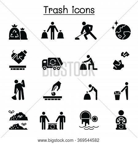 Trash, Garbage, Rubbish, Dump, Refuse Icon Set