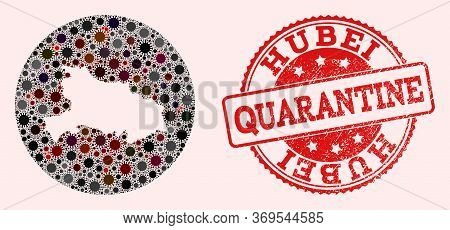 Vector Map Of Hubei Province Collage Of Flu Virus And Red Grunge Quarantine Stamp. Infection Cells A
