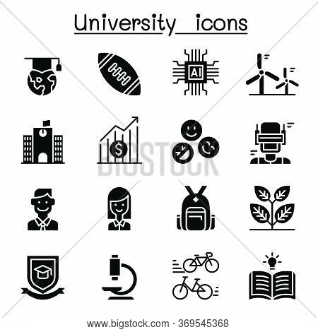 University, College, School Icon Set Vector Illustration Graphic Design