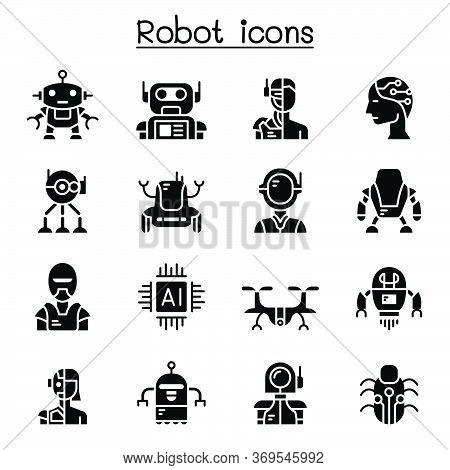 Robot Icon Set Vector Illustration Graphic Design
