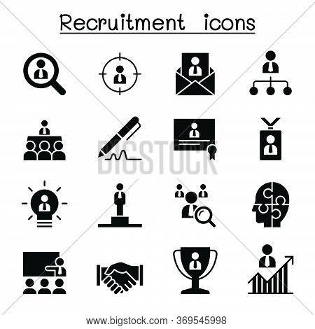 Recruitment, Career & Job Icon Set Vector Illustration Graphic Design