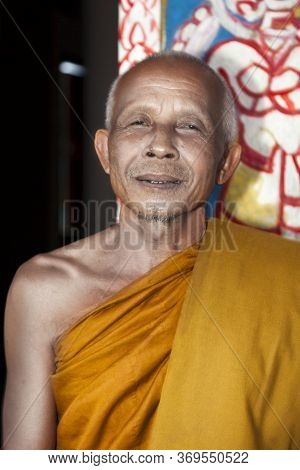 Champasak-laos. July 29, 2009: Portrait Of Buddhist Monks In A Rural Area Of Laos