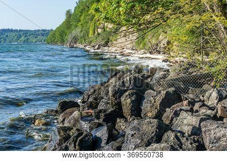 Rocky Shoreline Near Des Moines, Washington. Landscape Photo.