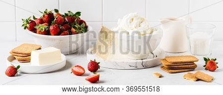 No Bake Strawberry Cheesecake Ingredients: Butter And Crackers For The Crust, Cream Cheese, Cream, G