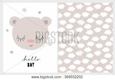 Hello Boy. Baby Shower Illustration. Cute Nursery Art With Little Dreamy Baby Bear Isolated On A Whi