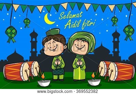 Selamat Hari Raya Aidil Fitri Greeting Card In Flat Style Illustration With Moslem Couple Character