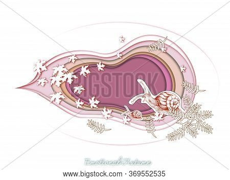 Emotional Autumn Background, Illustration Hand Drawn Of Snail With Maple And Pine Leaves In Trendy O