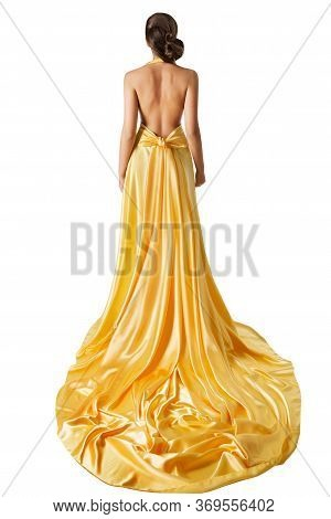 Woman Evening Dress Back Rear View, Elegant Fashion Model In Beautiful Gown With Long Train Tail