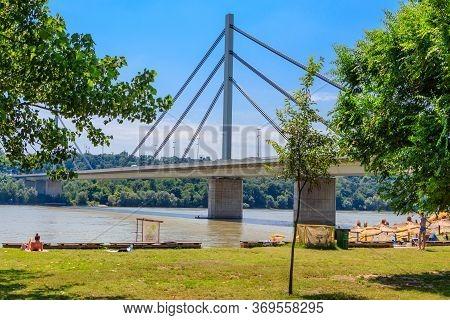Novi Sad, Serbia - July 3, 2019: Liberty Bridge A Cable-stayed Bridge On The Danube River In Novi Sa