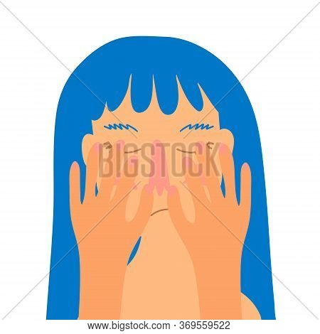 A Crying, Distressed Woman Covers Her Face With Her Hands. Girl With Blue Hair, Flat Style Vector Il