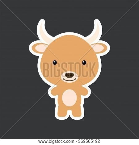 Cute Funny Baby Yak Sticker. Domestic Adorable Animal Character For Design Of Album, Scrapbook, Card