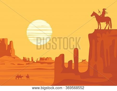 Vector Western Landscape With American Prairies And A Silhouette Of An Indian Riding A Horse With Sp