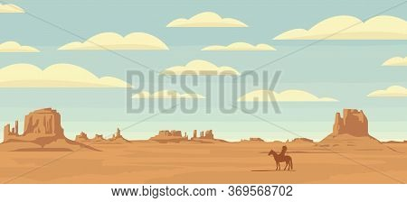 Decorative Illustration With Wild West Prairies And The Silhouette Of An Indian Chief On A Horse. Ve