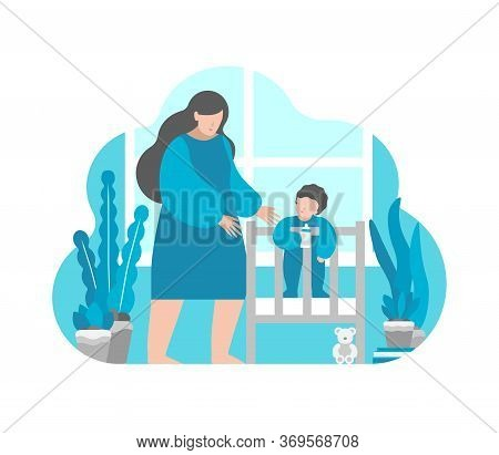 Vector Flat Illustration Concept With Simplified Characters Of Mother And Little Baby. Mom Goes To P