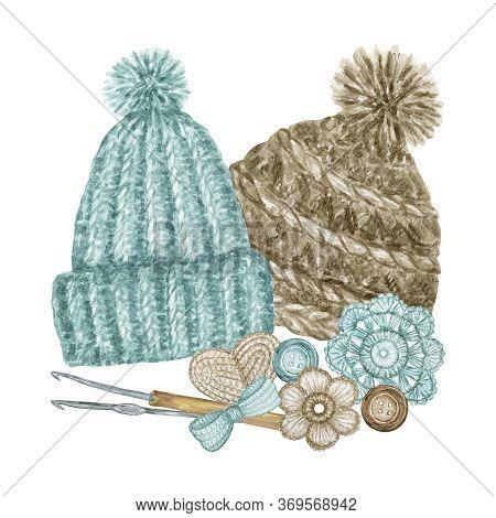 Scandinavian Style Crochet Shop Logotype, Branding, Avatar Composition Of Hats, Hooks, Yarns, Croche