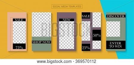 Mobile Stories Vector Collection. Online Shop Elegant Invitation Mobile. Blogger Hipster Border, Soc