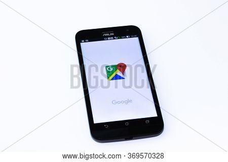 Kouvola, Finland - 23 January 2020: Google Maps App Logo On The Screen Of Smartphone Asus