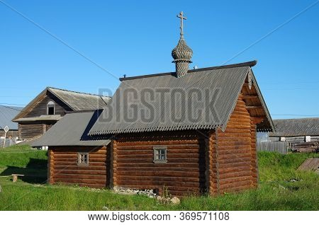 Solovki, Republic Of Karelia, Russia - August, 2017: Wooden Chapel On The Great Solovetsky Island