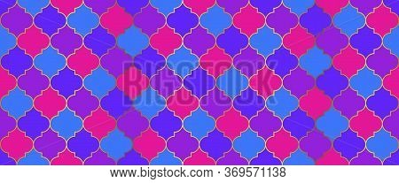 Traditional Ramadan Mosque Golden Grid. Moroccan Seamless Mosaic Design. Ramadan Kareem Muslim Decor