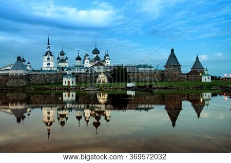 Solovki, Russia - August, 2017: Evening View On Solovetsky Monastery From The White Sea