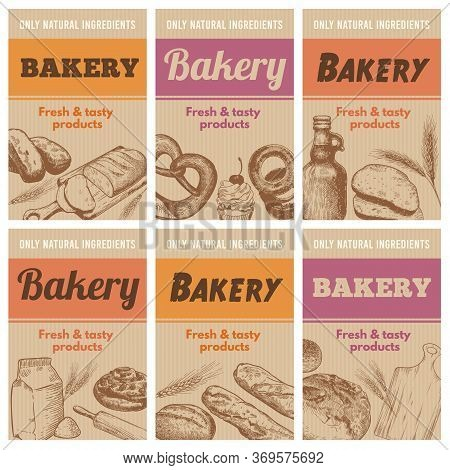 Bakery Posters. Fresh Bread, Sketch Wheat Ear And Tastiness Natural Ingredients Hand Drawn Banner Ve