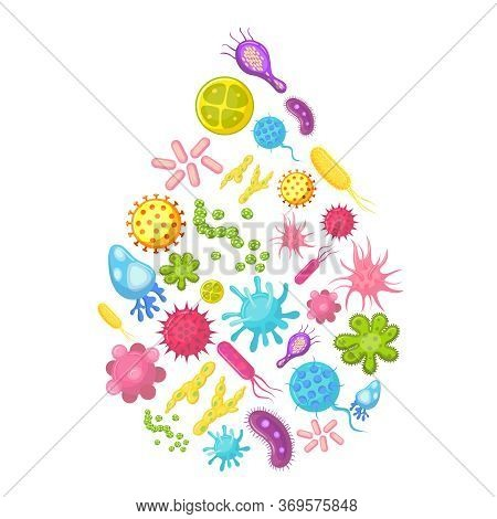 Microbes And Viruses In Water Drop. Contaminated Water Vector Illustration. Virus In Drop Water, Mic