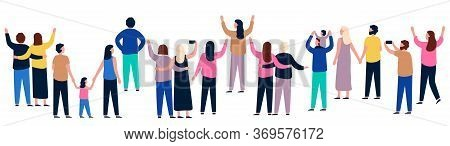 Group Of People From Behind. People Showing And Standing, Gathering Crowd Back, Illustration Men And