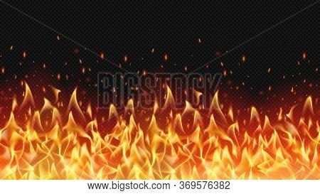 Seamless Realistic Fire Border, Flame Warm Design, Hell Decoration, Texture Danger Bright, Flaming I