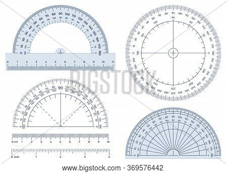 Protractor. Angles Measuring Tool, Round 360 Protractors Scale And 180 Degrees Measure Vector Illust