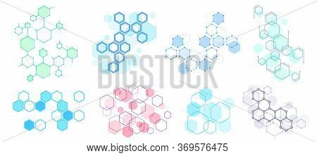 Abstract Hexagonal Structure. Futuristic Composition, Geometric Hexagon Network Structures And Honey
