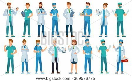 Hospital Staff. Clinic Workers, Pharmacist, Nurse In Uniform And Ambulance Doctors Characters Cartoo