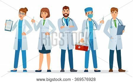 Doctors Team. Healthcare Workers, Medical Hospital Nurse And Doctor With Stethoscope Standing Togeth