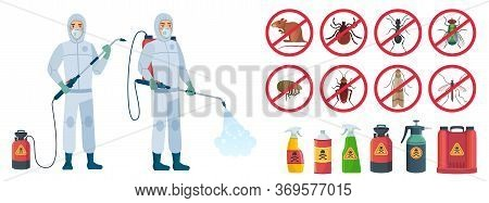 Cartoon Disinfector. Disinfectors Characters In Protective Suits With Poison Spray Bottle. Get Rid O
