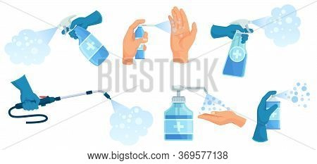 Disinfection Spray In Hand. Hands Sanitizer, Sprayed Antiseptic And Disinfectant Container. Medical