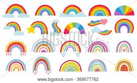Cartoon Rainbow. Colourful Rainbows, Heart And Cloud With Rainbow Colors Tail. Hand Drawn Color Arc
