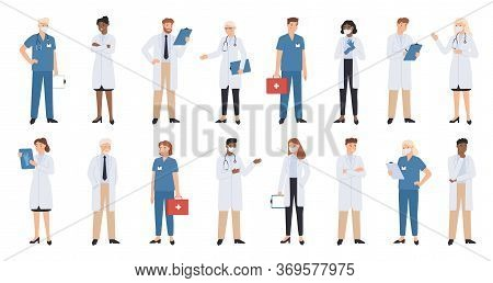 Hospital Doctors And Nurses. Doctor With Stethoscope, Nurse In Scrubs And Face Mask. Medical Student