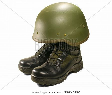 Soldier Visual Concept. Military Boots And Helmet.