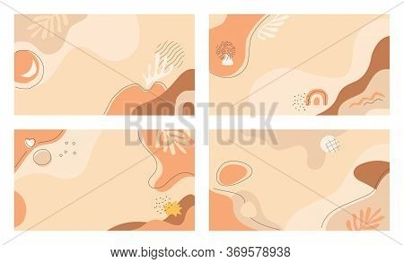 Horizontal Abstract Backgrounds Set In Terracotta Shades For Web, App Design, Video Conference Backd