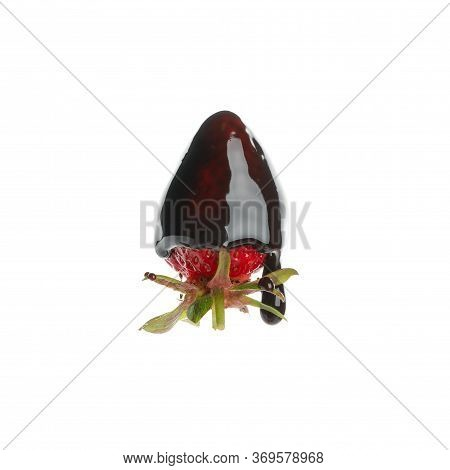 Chocolate Fondue. Strawberry In Chocolate Sauce Isolated On White Background