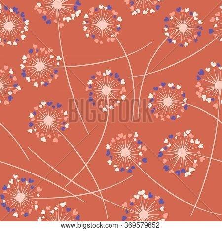 Cute Dandelion Blowing Vector Floral Seamless Pattern. Simple Flowers With Heart Shaped Fluff Flying