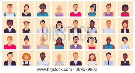 People Avatar. Multiethnic People Square Portraits Set. Multiethnic People Character, Diverse Face P