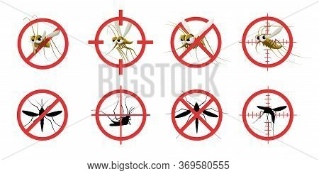 Anti Mosquito Sign. Informational Red Prohibited Mosquito Target, Signaling Stop Gnat Bite Dangerous