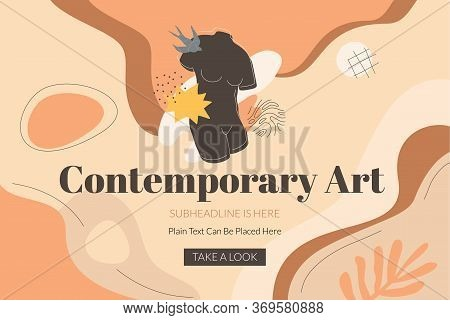 Contemporary Art Banner Template With The Black Female Torso, Swallow Bird, And Abstract Shapes. Mod