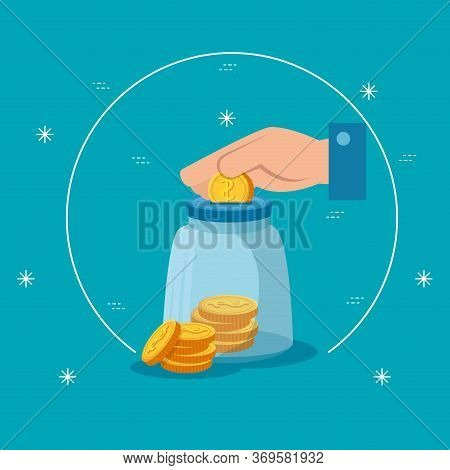 Hand With Moneybox And Coins Isolated Icon Vector Illustration Design