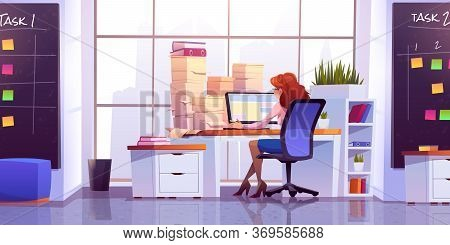 Woman Working At Office Sitting At Desk With Computer And Piles Of Paper Documents Front Of Wide Flo