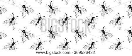Dark Gothic Asp Insect Seamless Wallpaper. Dangerous Design For Textile, Fabric Texture. Black Line