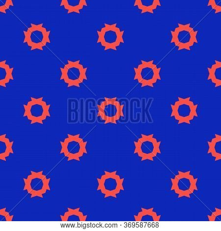 Modern Minimal Seamless Pattern. Crazy Vector Abstract Texture In Bright Colors, Neon Red And Blue.
