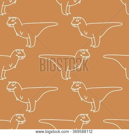 Seamless Background Simple Carnotaurus Dinosaur Gender Neutral Baby Pattern. Whimsical Minimal Earth