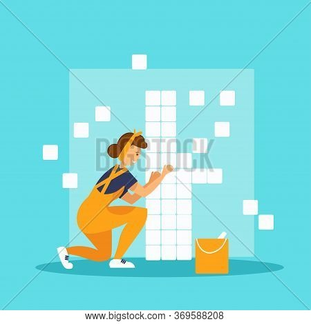 Laying Tiles. Worker Woman Installing Ceramic Tiles On Bathroom Wall. Flat Vector Illustration.